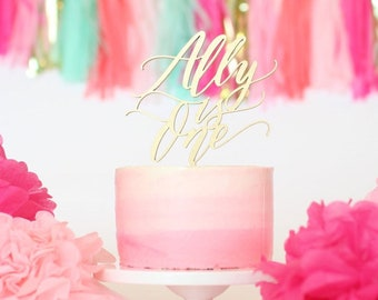 Custom and Unique First Birthday Cake Topper - is One - Letterstou - Hand Lettered No Fonts - Birthday Cake Decor - Laser Cut