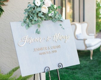 Forever and Always Welcome Wedding Sign - Stained Wooden Plank Wedding Sign - Welcome To Our Wedding Sign - Hashtag Sign