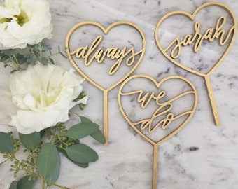 HeartSay Cake Topper - Laser Cut Gold Wedding or Birthday Cake Topper - hand drawn and made of wood or acrylic