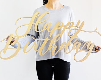 "Happy Birthday Sign - First Birthday - Korean Dohl - Backdrop Sign - Laser Cut Wood 34"" Wide x 18"" Tall - Shipped fast anywhere in USA"