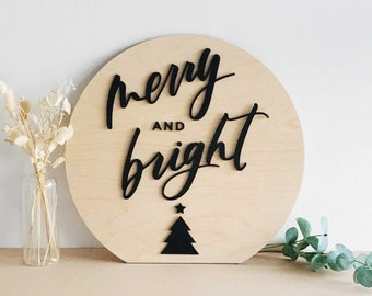 "Merry and Bright - Hand Lettered Holiday Decor Sign - Christmas Sign - 16"" Round - Letters To You - FREE SHIPPING"