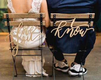 I love you I know Chair Signs - Star Wars Chair Backs - Wedding Signs - Bride Groom Sign - Mr Mrs Sign - Wedding Gift - Han Leia Sign