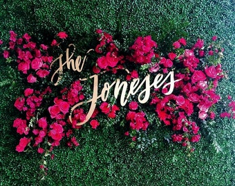 "Last Name Wedding Backdrop Sign - Name Sign - Hand Drawn by Letters To You @letterstou - Hedge Sign - Laser Cut Wood - 35"" Wide"