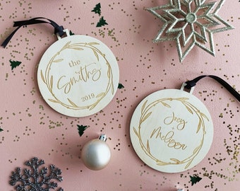 Christmas Ornament - Etched Birchwood in Modern Font