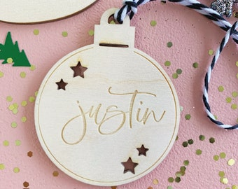 Christmas Gift Tags - Small Ornament Tags with personalized name - Set of 4