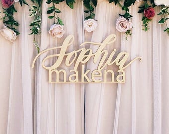 "Custom LARGE Stacked Names - Handwritten Design - 1st Birthday Sign - Backdrop Sign - Korean Dol - Laser Cut Wood - 35"" Wide - Ships FAST"