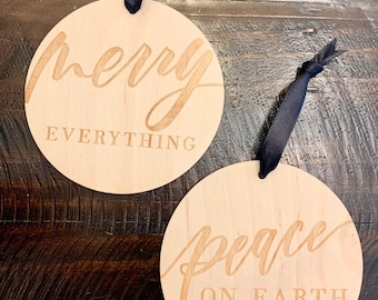 Christmas Ornaments - Set of 2 Hand Lettered Laser Engraved Wood Ornaments - Letterstou - Free Shipping