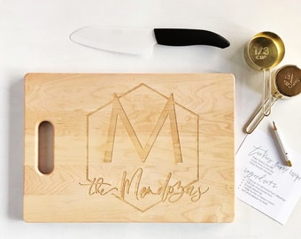 Personalized Custom Engraved Cutting Board - Modern Monogram Geometric Design - Family Name Cutting Board - Housewarming Gift - Laser Etched