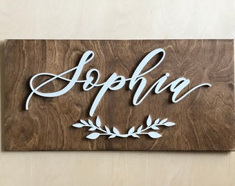 "Custom Name Wooden Plank Laser Cut Sign - Letterstou Hand Lettered Design -  12 x 24""  Sign - Kids Room Decor - Birthday Sign - Gift"