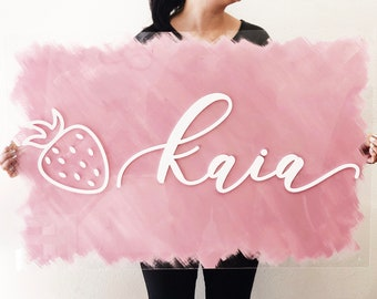 """Custom Painted Acrylic Name Sign - 1st Birthday Sign - Backdrop Sign - Korean Dol - Laser Cut  - Nursery Sign - 24"""" x 35"""" Wide - Shipped"""