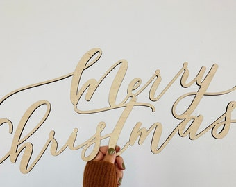 Merry Christmas Decorative Sign - Hand Lettered - Holiday Sign - Letterstou - laser cut - Ships Fast - FREE SHIPPING