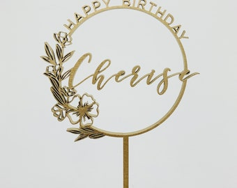 Custom Happy Birthday Floral Ring Laser Cut Cake Topper
