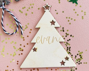 Christmas Gift Tags - Christmas Tree Tags with personalized name - Set of 4