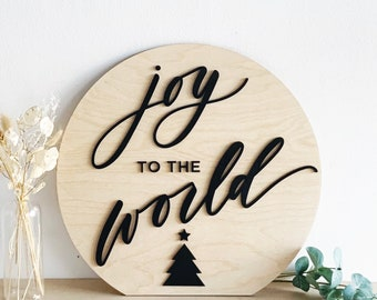 "Joy to the World Hand Lettered Holiday Decor Sign - Christmas Sign - 16"" Round - Letters To You - FREE SHIPPING"