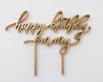 Custom Happy Birthday Laser Cut Cake Topper - Handlettered