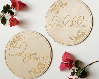 Engraved Baby Name Announcement Plaque Sign with Florals - Newborn Photo Prop Name Sign - Etched Birch Wood - FREE SHIPPING - Ships Fast
