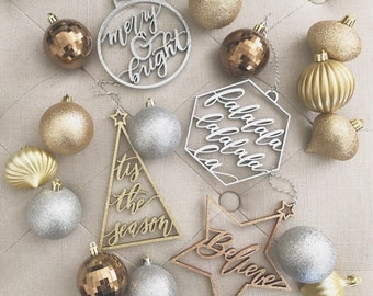 Christmas Ornaments - Set of 4 Hand Lettered Laser Cut Wood Ornaments