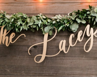 "Wedding Sign - Letterstou - Letters To You - Backdrop Custom Laser Cut Wood Last Name - Hand Drawn Hedge Sign - Laser Cut Wood - 35"" Wide"