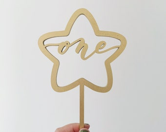 One Star Laser Cut Cake Topper - First Birthday - Birthday Topper - Hand Drawn - Letters To You - Free Shipping