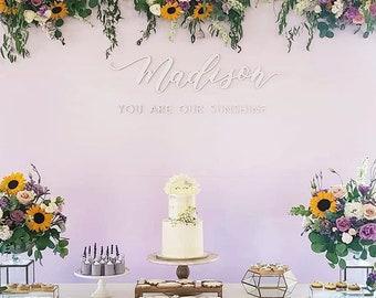 "Custom Letterstou Handwritten Name 1st Birthday - Backdrop Sign - Korean Dol - Laser Cut Wood - Nursery Sign - 36"" Wide - Ships FAST"