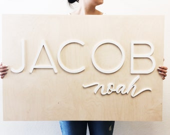 Custom Name Wooden Plank Laser Cut Sign - Large 2x3 feet - Mixed Lettering Style Name Sign - First Birthday Sing - Back Drop Sign