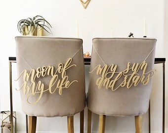 Moon of My Life My Sun and Stars Chair Signs - Game Of Thrones - Wedding Chair Decoration - Chair Backs - Khal Khaleesi GOT Wedding