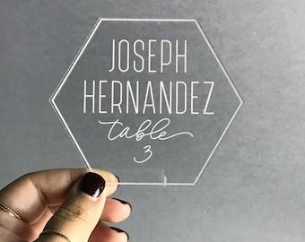 Acrylic Wedding Escort Cards - Set of 10+ - Engraved Acrylic Geometric Hexagon - Place Settings - Place Cards - Wedding Decor - Table Number