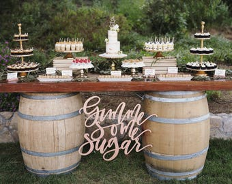 "Gimme Some Sugar Sign - Wedding Sign - Backdrop Sign - Dessert Table Sign - Laser Cut Wood 30"" Wide x 24"" tall - Shipped anywhere in USA"