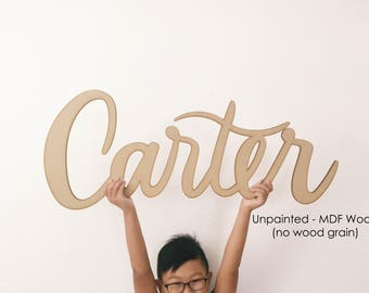 "Custom Laser Cut Wood Name Sign - Letterstou Hand Lettered 1st Birthday Backdrop Korean Dol -Unpainted- Nursery Sign - 36"" Wide - Ships FAST"