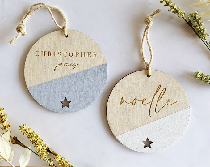 Featured listing image: Custom Christmas Ornaments - Set of 3 - Hand painted - Laser Engraved - Laser Cut - Letterstou Custom Ornament - FREE SHIPPING