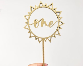 One Sun Laser Cut Cake Topper - You Are My Sunshine - First Birthday