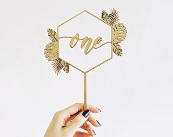 Geometric Monstera Tropical Hawaiian First Birthday Cake Topper - Hand Lettered - One Cake Topper - Letters To You