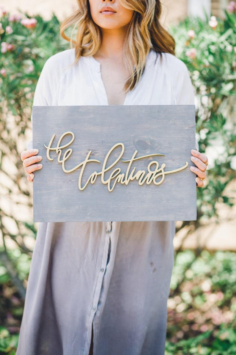 Wedding Sign Last Name Sign -Wedding Gift Family Name Sign Custom Name Wooden Plank Laser Cut Sign -Letterstou Hand Lettered Design