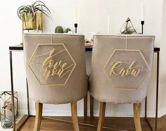 I love you I know Geometric Chair Signs - Hexagon Star Wars Chair Backs - Wedding Signs - Bride Groom Sign - Han Solo Leia Sign