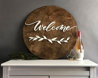 """Welcome Dark Walnut Stained Wood Sign with White Laser Cut Lettering - 24"""" Round Welcome - home decor - housewarming gift"""
