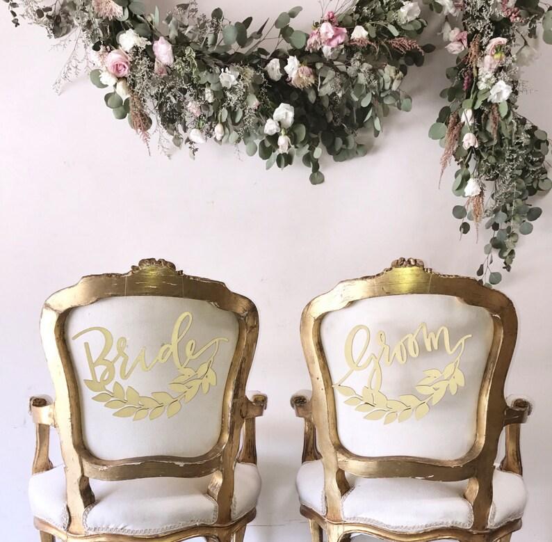 Wedding Chair Backs Half Wreath Bride and Groom Laser Cut Wood