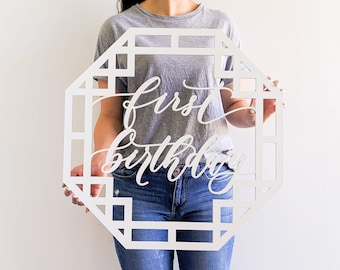 """First Birthday Sign - Korean First Birthday - Korean Dohl - Backdrop Sign - Laser Cut Wood 24"""" Wide x 24"""" Tall"""