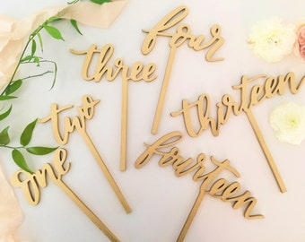 Custom Wedding Table Numbers - Table Signs - Laser Cut - Hand Draw - Made of Wood - Shipped Anywhere in the USA