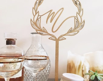 Free Standing Laser Cut Wreath with Initial Table Decor