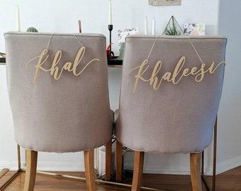 Khal and Khaleesi - Game Of Thrones Laser Cut Chair Backs - Hand Drawn Wedding Chair Decoration