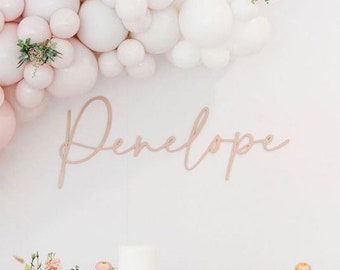 Birthday Backdrop Personalized Name Sign - Custom Nursery Name Sign - 1st Birthday - Child Name - Modern Fun Script Font - FREE SHIPPING