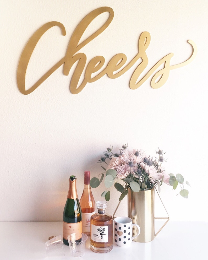 Hand Lettered by Letterstou Bride Groom Gift Hedge Wall Details Wedding Backdrop Sign Wedding Bar Sign Wooden Sign Cheers Sign