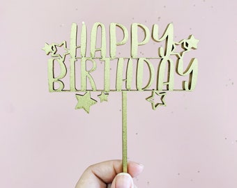 Happy Birthday Cake Topper - Cake Topper - Laser Cut Wood or Acrylic