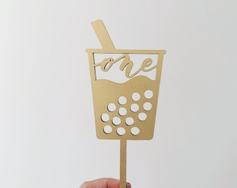 One Boba Laser Cut Cake Topper - First Birthday - Birthday Topper - Letters To You - Free Shipping
