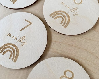 """Milestone Markers - Rainbow Monthly Milestone Cards - 4"""" Round Laser Etched Birch Wood -  Baby Photo Prop - Letters To You - Free Shipping"""