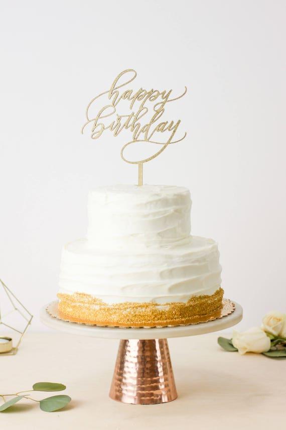 Peachy Happy Birthday Cake Topper Modern Calligraphy Laser Cut Etsy Funny Birthday Cards Online Inifodamsfinfo