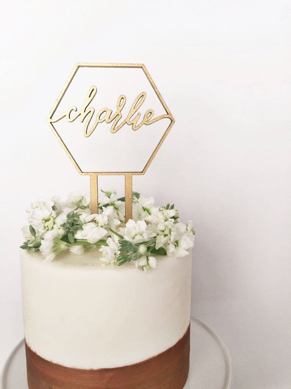 Sensational Custom Name Geometric Laser Cut Gold Modern Birthday Cake Etsy Funny Birthday Cards Online Alyptdamsfinfo