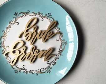 Bride and Groom Wedding Place Settings - Wedding Gift - Laser cut wood or acrylic - Ships anywhere in USA