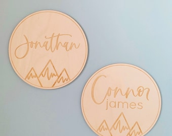 Engraved Baby Name Announcement Plaque Sign with Mountains - Newborn Photo Prop Name Sign - Etched Birch Wood - FREE SHIPPING - Ships Fast