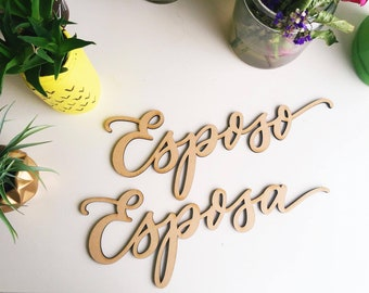 Esposo and Esposa Chair Backs - Lettersstou - Modern Design - Wedding Chair Signs - Wedding Gift - Made of wood - Ships anywhere in the USA